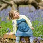 small girl bluebells