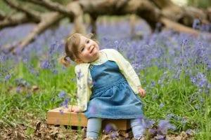 small girl bluebells