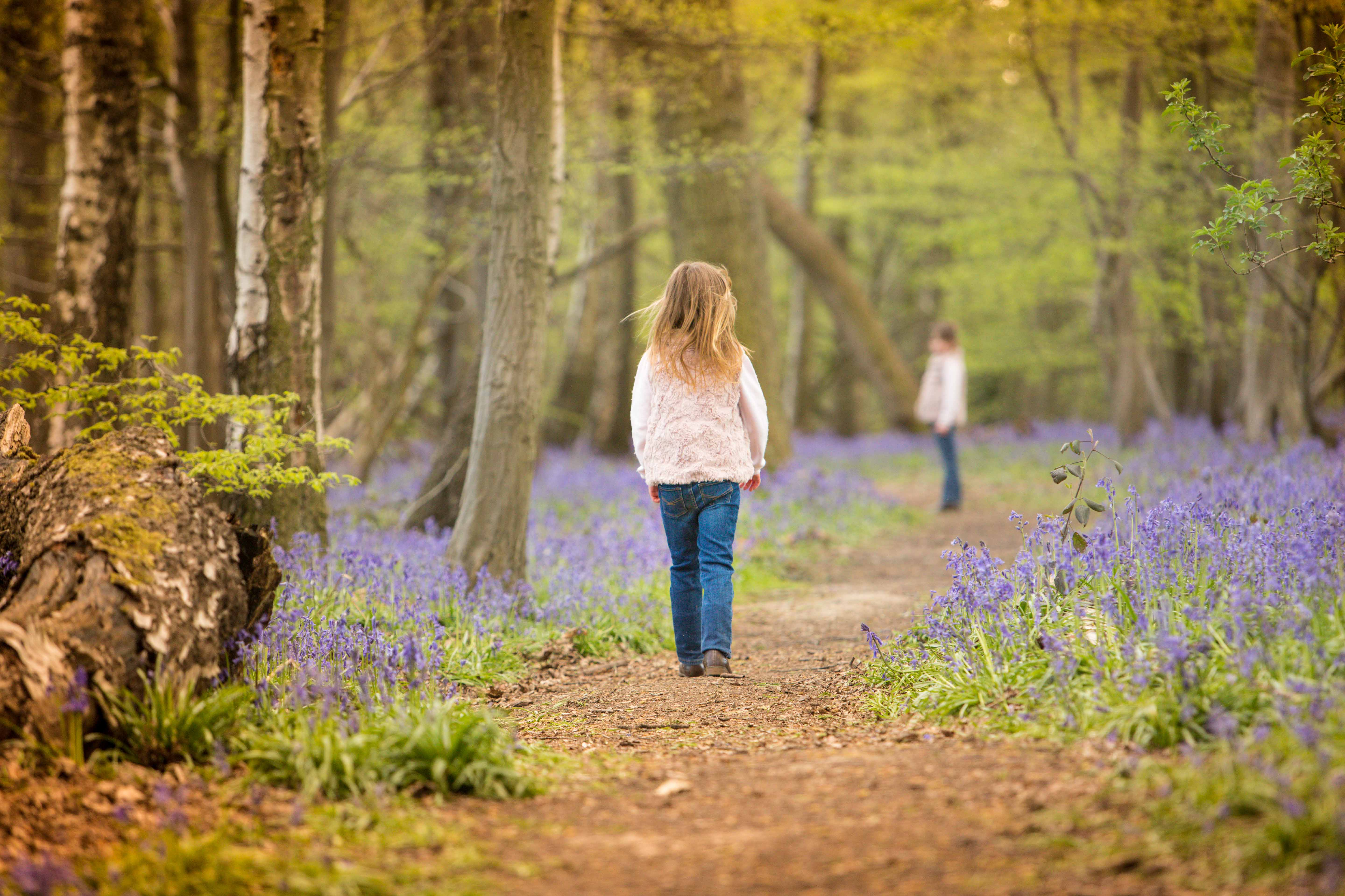 girls walking woods