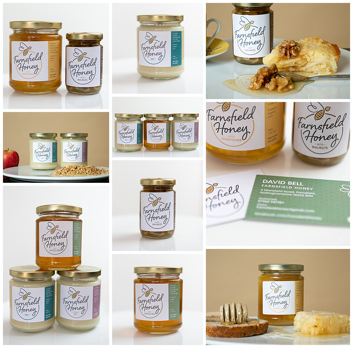 collage of jars of honey products